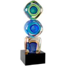 "New   9 1/4"" Stacked Blocks Art Glass"